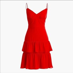 J. Crew Red Spaghetti Strap Cha Cha Dress 00 NWT